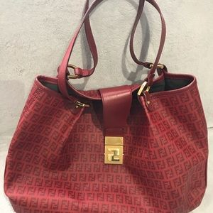 100% Authentic Large Red Coated Fendi Bag